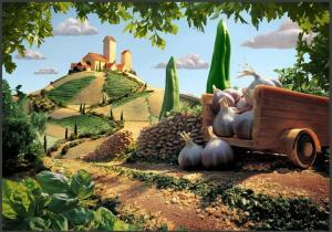 carrito hecho de lasaña, campos de macarrones y nubes de mozzarella. Árboles de pimento y perejil. El pueblecito de queso.